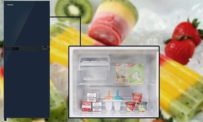 Description: Tủ lạnh Toshiba GR-M28VUBZ(UB) 226 lít xanh đen công nghệ làm đá đông nhanh chóng